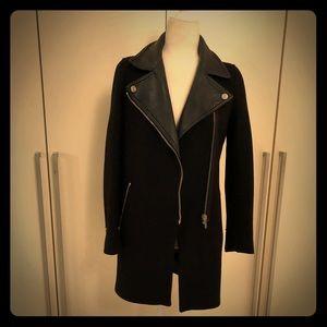 Zara leather and wool coat